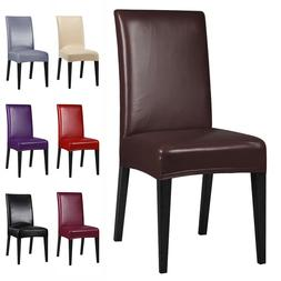 1/4/6/8 PCS Premium PU Leather Chair Covers Stretch Dining R