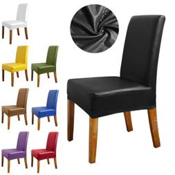 1/4/6/8 PCS PU Leather Premium Chair Covers Stretch Dining R