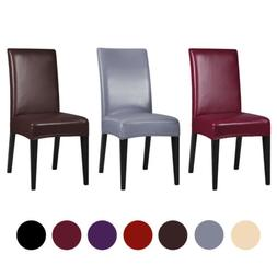 1/4/6Pcs PU Leather Stretch Dining Room Chair Cover Wedding