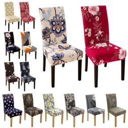 1/4/6pcs Spandex Stretch Printed Dining Chair Covers Slipcov