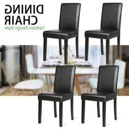 Set of 4 Dining Chairs  PU Leather Cushion Side Chairs Woode