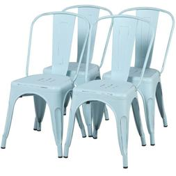 """18"""" Iron Metal Dining Chairs Stackable Side Chairs with Back"""