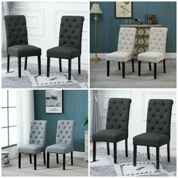 2/4/6 Button Dining Chairs Tufted High Back Fabric Padded Di
