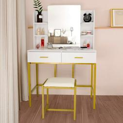 2 Drawers Vanity Set with Removable Mirror Makeup Dressing T