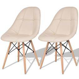 Set of 2 Armless PU Leather Dining Chairs with Wooden Legs 1