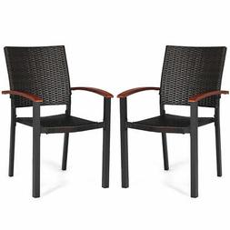 2PCS Patio Dining Chairs Armchair Stackable Rattan Wicker Ou