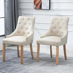 2xCurved Dining Chair Button Tufted Fabric Upholstered Accen