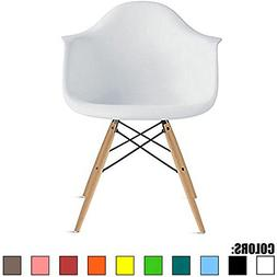 2xhome - White - Eames Style Armchair Natural Wood Legs Eiff