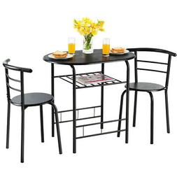 3 Pcs Dining Set Table And 2 Chairs Compact Bistro Pub Break
