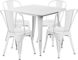 """31.5"""" Square Metal Indoor-Outdoor Table Set with 4 Stack Cha"""