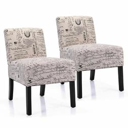 Armless Fabric Contemporary Set of 2 Accent Chair Dining Cha