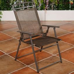 4 Outdoor Folding Sling Chairs w/Armrest Summer Lounging Yar