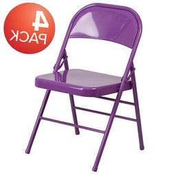 4 Pack Colorful Metal Folding Chair Teen and Event Seating