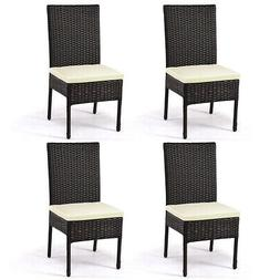 4 Pieces Outdoor Patio Furniture Rattan Dining Chairs Cushio