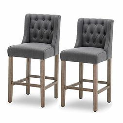 """40"""" Tufted Wingback Fabric Upholstered Barstool Dining Chair"""