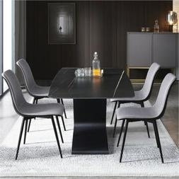 4pcs Dining Chairs Kitchen Diner Chair with Fabric Cushion S