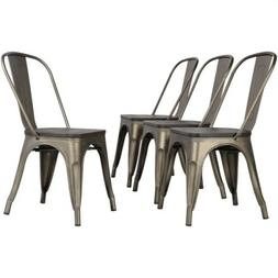 4pcs Metal Dining Chair with Wooden Seat Stackable Side Chai