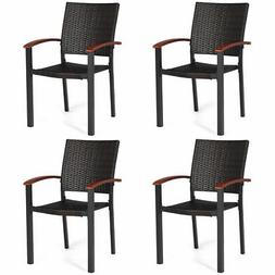 4PCS Patio Rattan Dining Chairs Armchair Stackable Wicker Ou