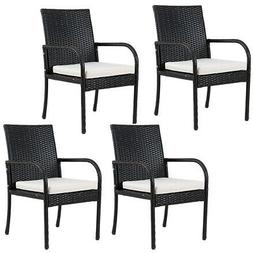 4PCS Rattan Wicker Chair Cushioned Seat Dining Chairs With A