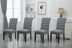 4x Gray Dining Chairs High Back Fabric Upholstered Button Tu