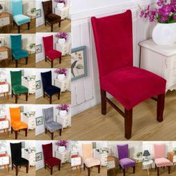 4X Velvet Stretch Dining Chair Covers Removable Slipcovers W