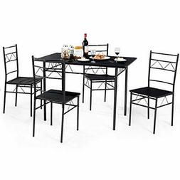5 PCS Dining Table And Chairs Set, Wood Metal Room Breakfast