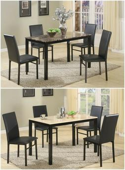 5 Piece Citico Metal Faux Marble Dining Set, one Table w/ 4