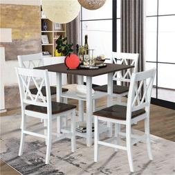 5-Piece Dining Set with Double Shelf and Matching Chairs for
