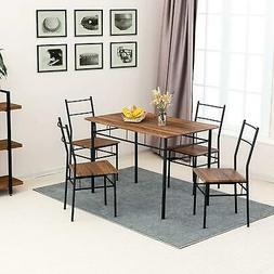 5-Piece Dining Table Chairs Set With 4 Chairs Wood Table Top