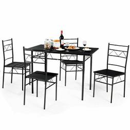 5 Piece Dining Table Set 4 Chairs Wood Metal Kitchen Breakfa