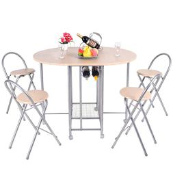 5 Piece Foldable Dining Set Table and 4 Chairs Breakfast Kit