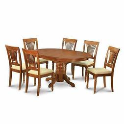 5-piece Oval Dining Room Table with Leaf and 4 Dining Chairs