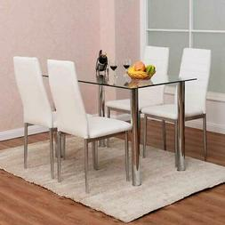 5 PIECES DINING TABLE WHITE GLASS TABLE AND 4 CHAIRS FAUX LE