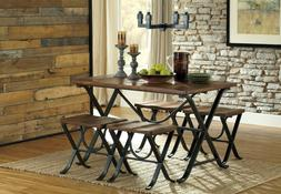 5pc Dining Room X Shaped Black Color Metal Frame Table & Sto