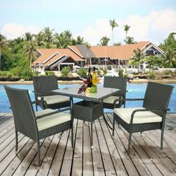 5PC Outdoor Rattan Dining Table Cushioned Chairs Set Garden