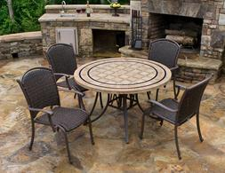 """5Pc Outdoor Wicker Patio Dining Set Chairs 48"""" Round Travert"""