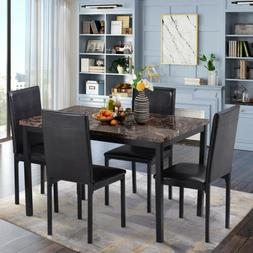 5pcs Faux Mable and PU Leather Dining Chair Set 4 Chairs Bla