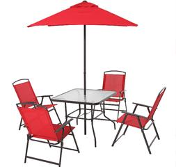 6-Piece Outdoor Patio Dining Set With Umbrella 4-Chairs And