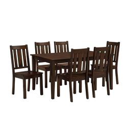 7 Piece Dining Room Table Set For 6 Farmhouse Wooden Kitchen