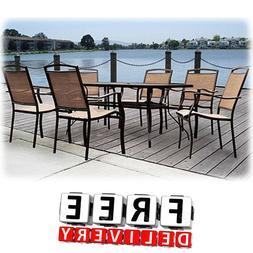 7 Piece Patio Dining Set Outdoor Table Chairs Bistro Backyar