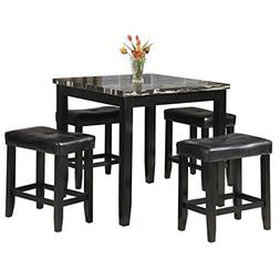 Acme Furniture 71095 Blythe 5 Piece Faux Marble Counter Heig