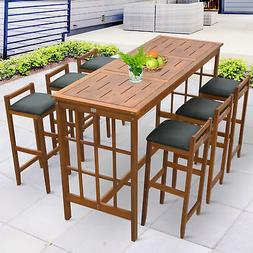 7pc Patio Acacia Wood Dining Table Chairs Conversation Set
