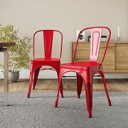 Belleze Set of  Vintage Style Dining Chairs Steel High Back
