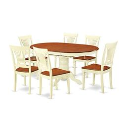 East West Furniture KEPL7-WHI-W 7-Piece Dining Table Set