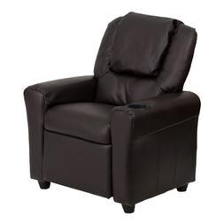 Flash Furniture Contemporary Brown Leather Kids Recliner wit