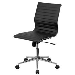Mid-Back Armless Black Ribbed Upholstered Leather Conference