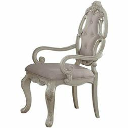 ACME Ragenardus Dining Arm Chair in Gray and Antique White