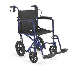 """Aluminum Transport Chair with 12"""" Wheels,Blue,F: 8   R: 12 -"""