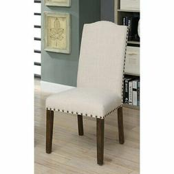 Furniture of America Amherst Nailhead Trim Faux Linen Dining