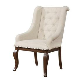 Antique Java Brown Dining Accent Arm Chair with Nail Head Tr